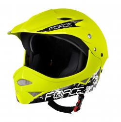 Prilba FORCE DOWNHILL junior fluo lesklá S-M